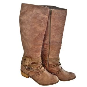 NOT RATED HEELED BOOTS Rhinestones Chains Bow 10 M